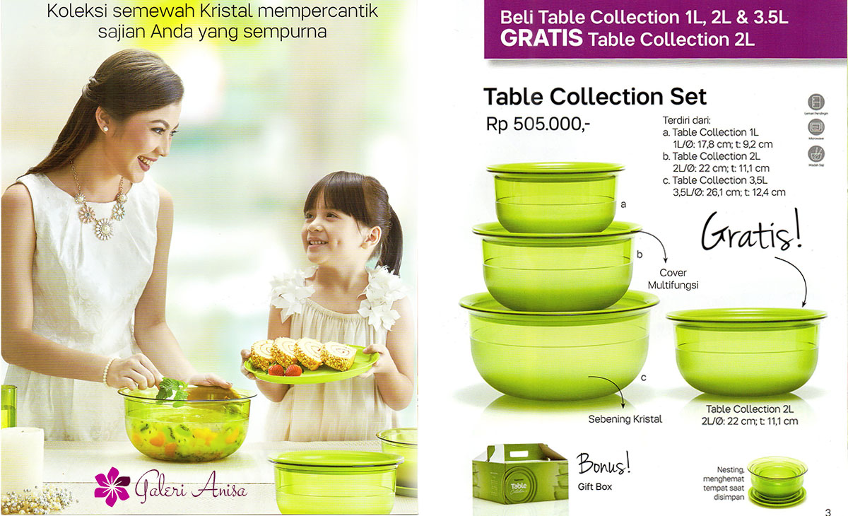 table collection set Tupperware Promo Januari 2017