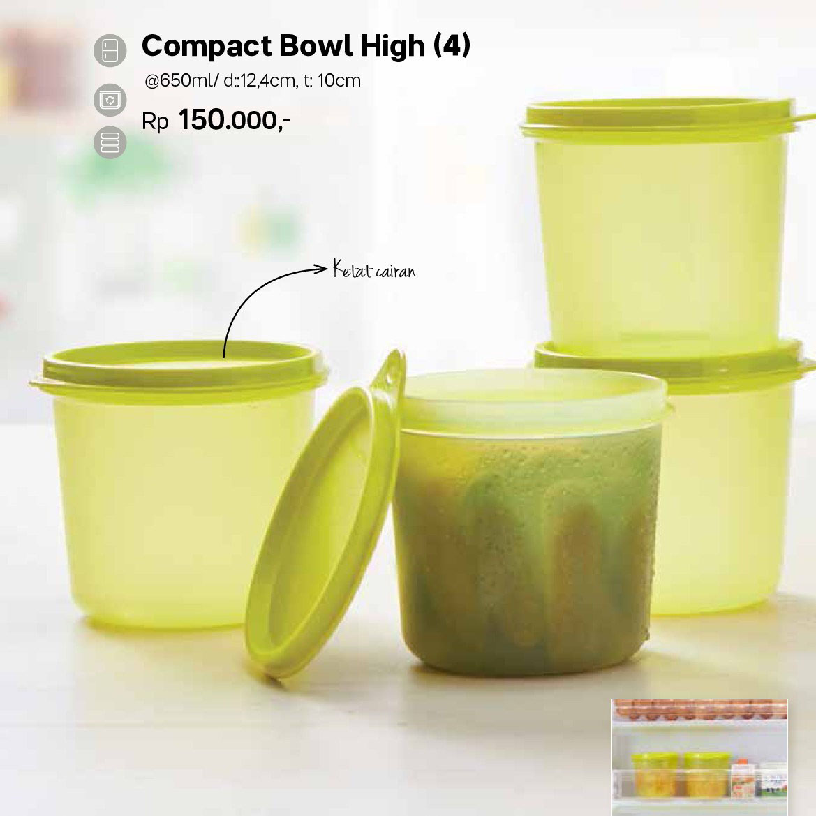 compact bowl high Tupperware