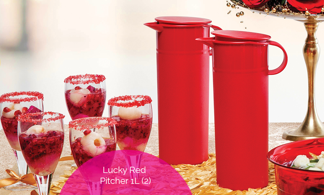 Lucky Red Pitcher 1L (2) Tupperware