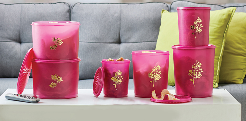 Deco Lotus Canister (4) Tupperware